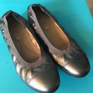Geox Respira Piuma Champagne Leather Ballet Flats